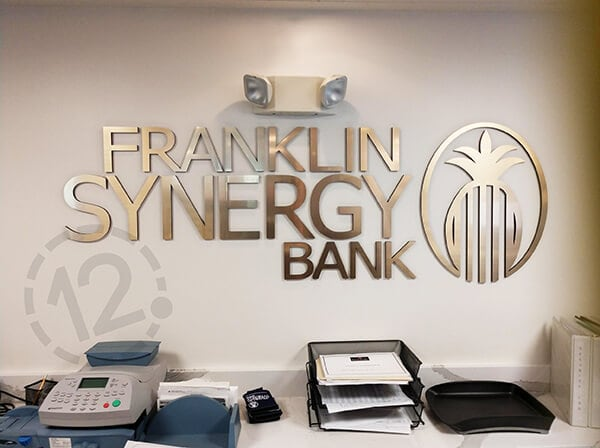 Custom logo sign for Franklin Synergy Bank. 12-Point SignWorks - Franklin, TN
