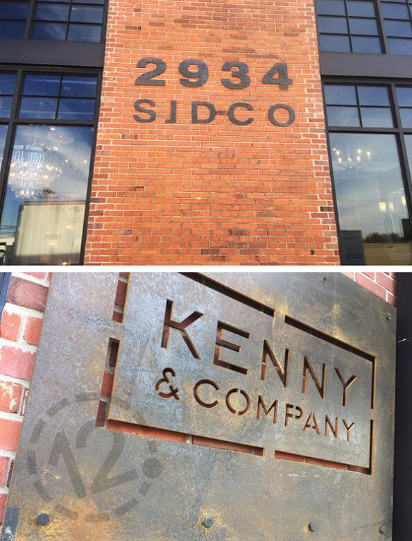 Weathering steel signage installed at the Oak Barrel Building in Nashville. 12-Point SignWorks - Franklin, TN