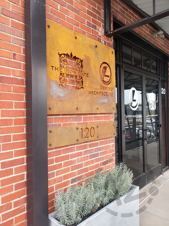 Corten steel signage for The Iron Gate and Oxford Architecture. 12-Point SignWorks - Franklin, TN
