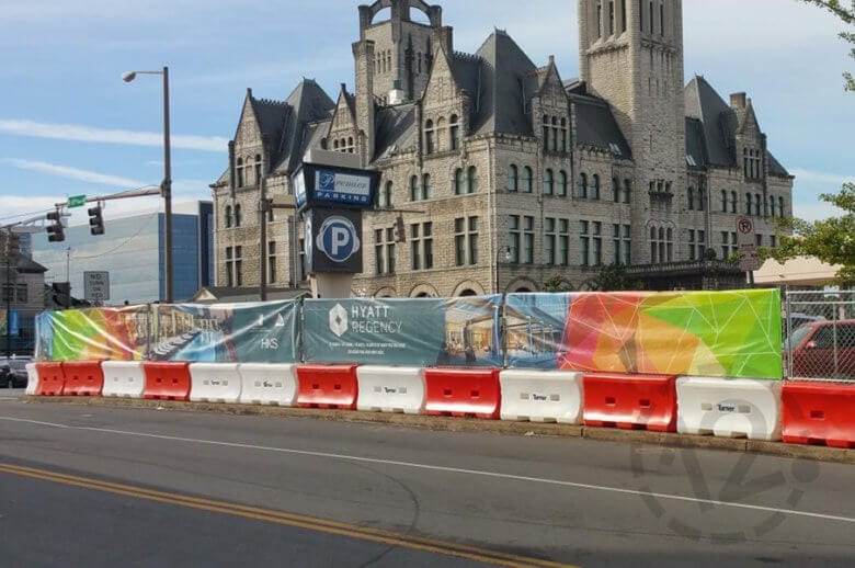 Mesh banners at a construction site in Nashville. 12-Point SignWorks - Franklin, TN