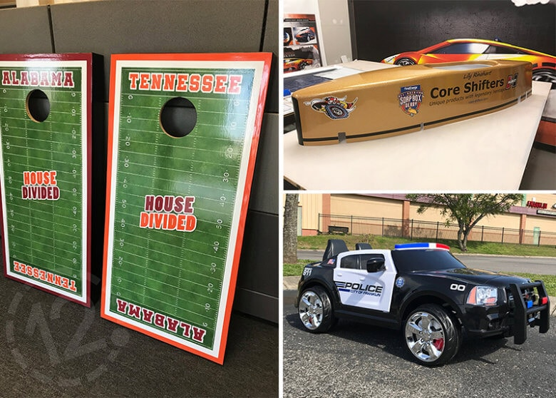 Custom vinyl installed on Cornhole Boards and Toy Vehicles. 12-Point SignWorks - Franklin, TN
