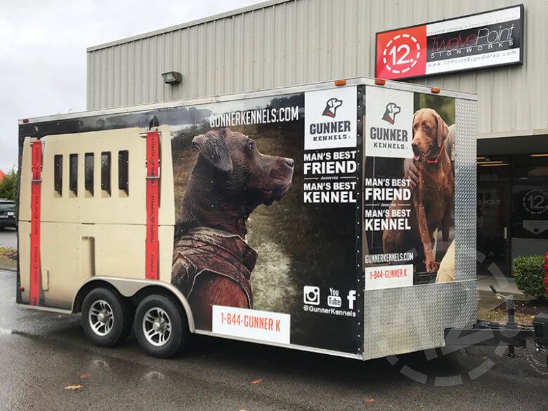 Repaired trailer wrap for Gunner Kennels. 12-Point SignWorks - Franklin, TN