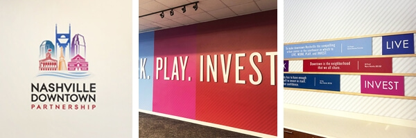 Branded Environment for the Nashville Downtown Partnership by 12-Point SignWorks.
