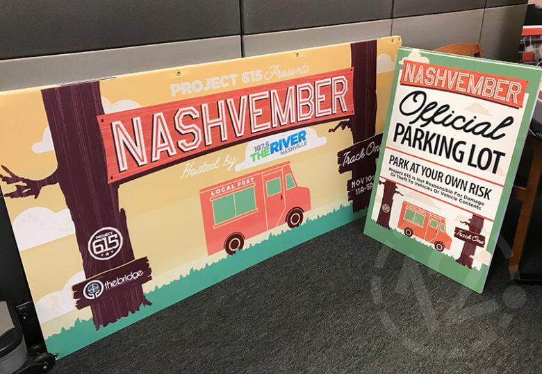 Custom signage for the Nashvember event in Nashville by 12-Point SignWorks.