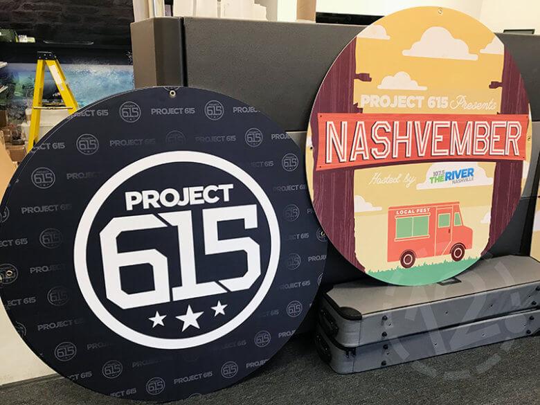 Custom signage for Project 615's Nashvember event by 12-Point SignWorks.