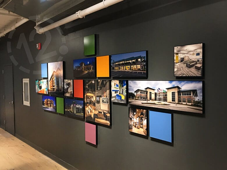 Architectural photo display for NewGround Chicago by 12-Point SignWorks in Franklin, TN.