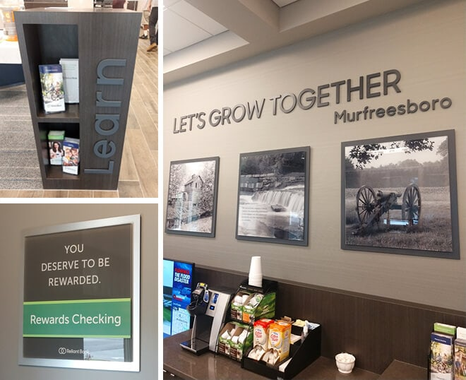 Branded interior for Reliant Bank in Murfreesboro, TN by 12-Point SignWorks - Franklin, TN.