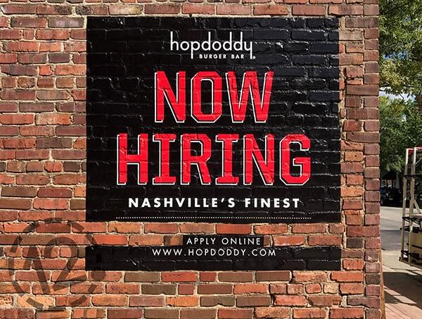 Textured surface vinyl for Hopdoddy Burger Bar in Nashville. 12-Point SignWorks - Franklin, TN