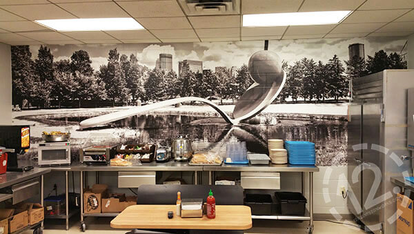 Textured Surface Wall Mural for Loews Minneapolis Hotel Employee Cafeteria. 12-Point SignWorks - Franklin, TN