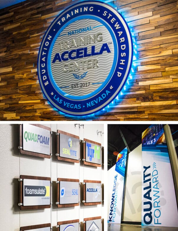 Branded Environment for Accella Performance Materials in Las Vegas fabricated and installed by 12-Point SignWorks.