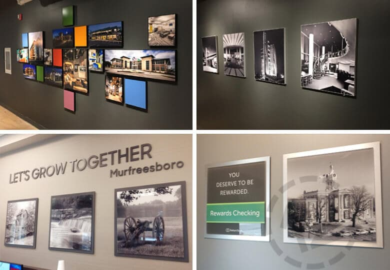 Acrylic photo displays fabricated and installed by 12-Point SignWorks in Franklin, TN.