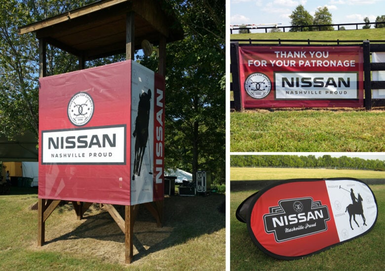 Mesh banners and pop-up signage for the Chukkers for Charity event by 12-Point SignWorks.