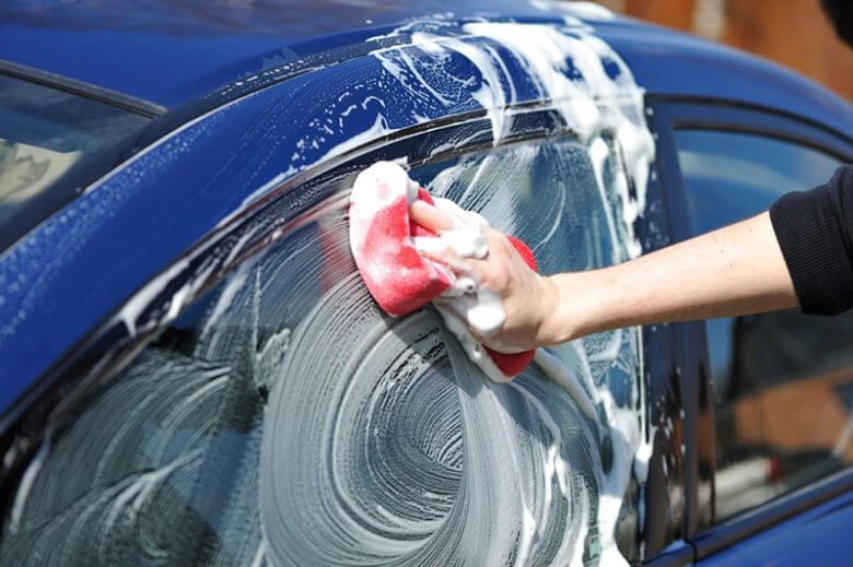 Wash with soap and water prior to vinyl wrap installation.