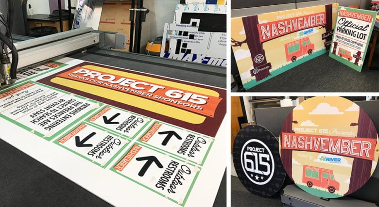 Event signage for Project 615's Nashvember event in Nashville printed and fabricated by 12-Point SignWorks.