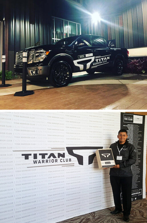 Temporary branding for Nissan TITAN Award Events by 12-Point SignWorks in Franklin, TN.