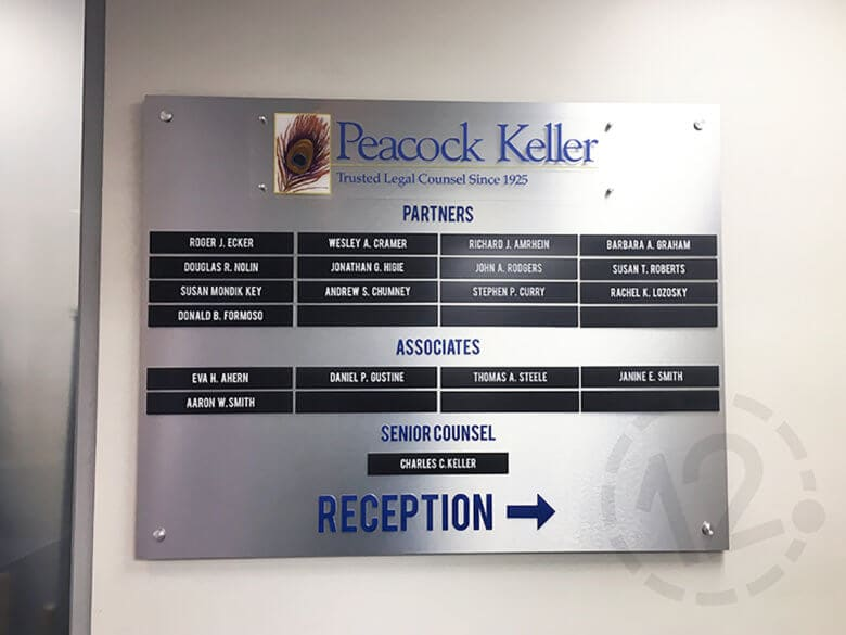 Directory Sign for Peacock Keller by 12-Point SignWorks in Franklin, TN.