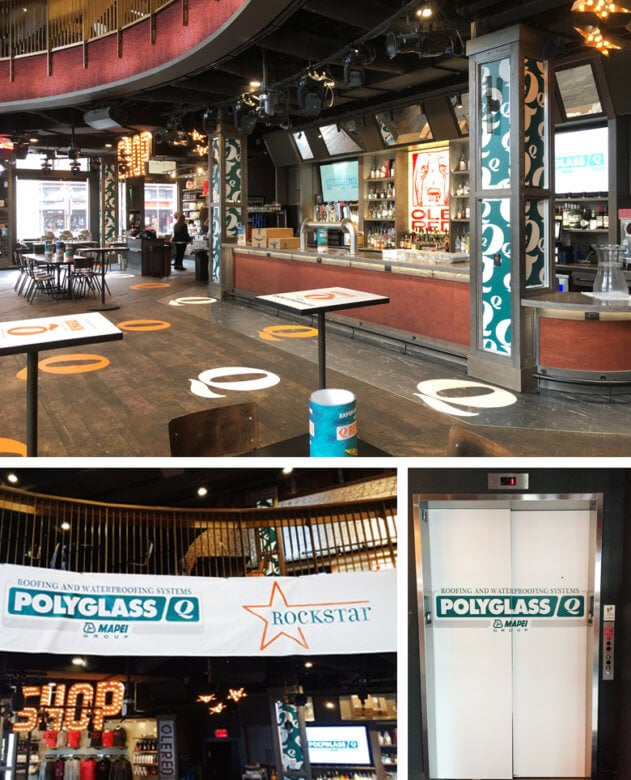 Event branding at Ole Red for Polyglass, printed and installed by 12-Point SignWorks.