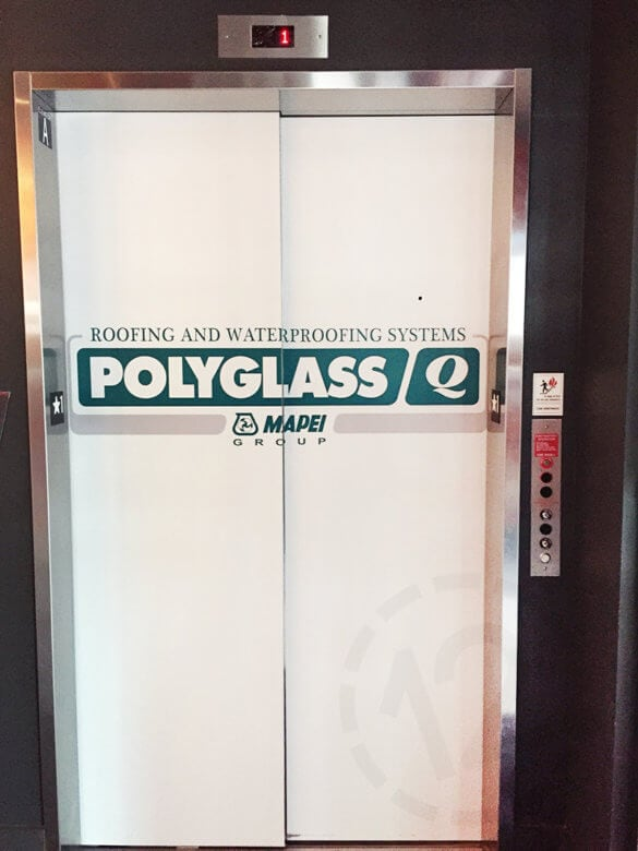 Temporary Elevator Graphics for Polyglass at Ole Red in Nashville by 12-Point SignWorks.