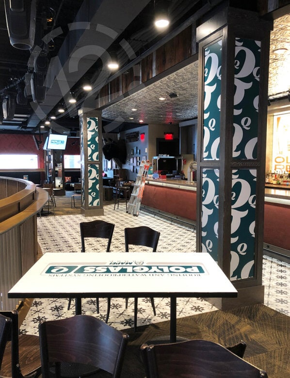 Temporary Branding Graphics for Polyglass at Ole Red in Nashville by 12-Point SignWorks.