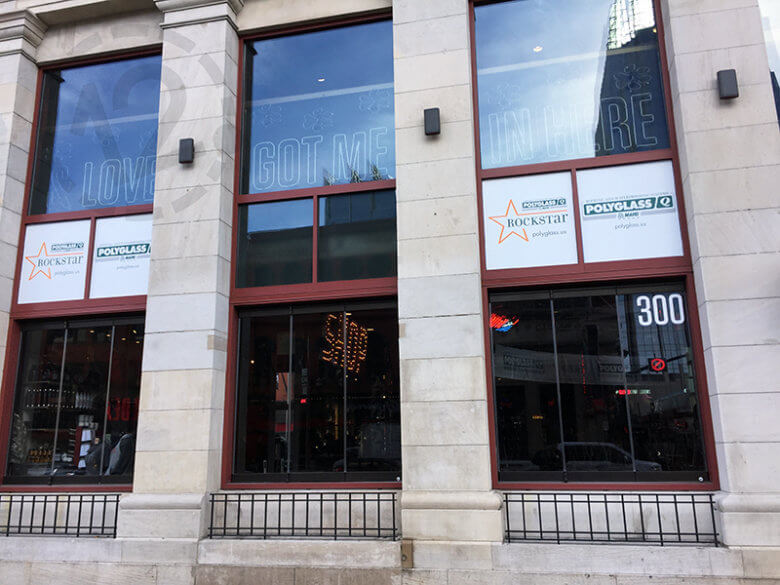 Temporary Window Graphics for Polyglass at Ole Red in Nashville by 12-Point SignWorks.