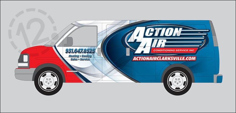 Custom vehicle wrap for Action Air Conditioning Services in Clarksville, TN by 12-Point SignWorks.
