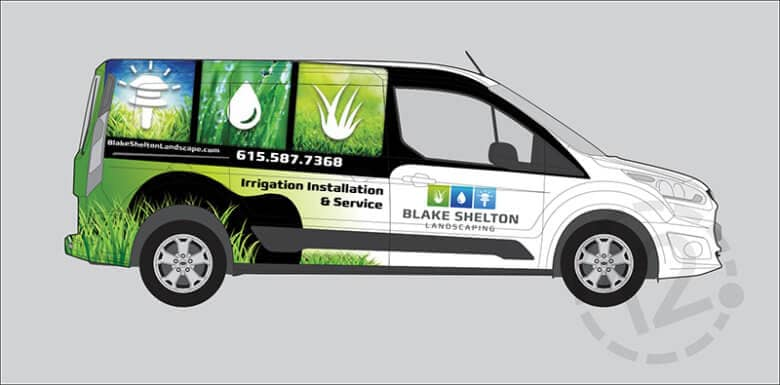 Custom vehicle wrap for Blake Shelton Landscaping by 12-Point SignWorks in Franklin, TN.