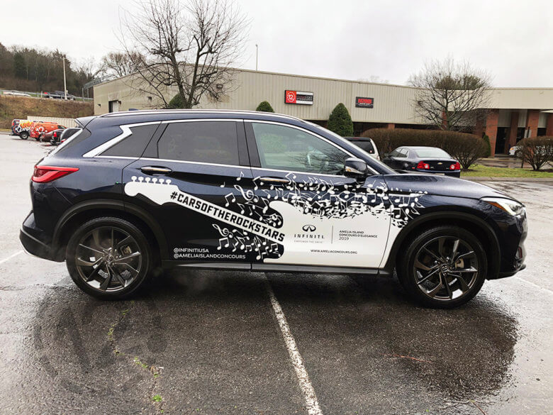 Vehicle graphics for #Carsoftherockstars and INFINITI, designed by George P. Johnson and installed by 12-Point SignWorks.