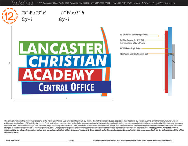 Dimensional sign proof for Lancaster Christian Academy in Smyrna, TN by 12-Point SignWorks.