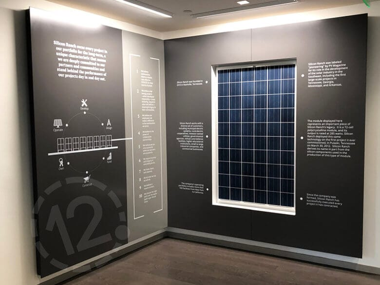 History wall display for Silicon Ranch in Nashville, TN fabricated by 12-Point SignWorks.
