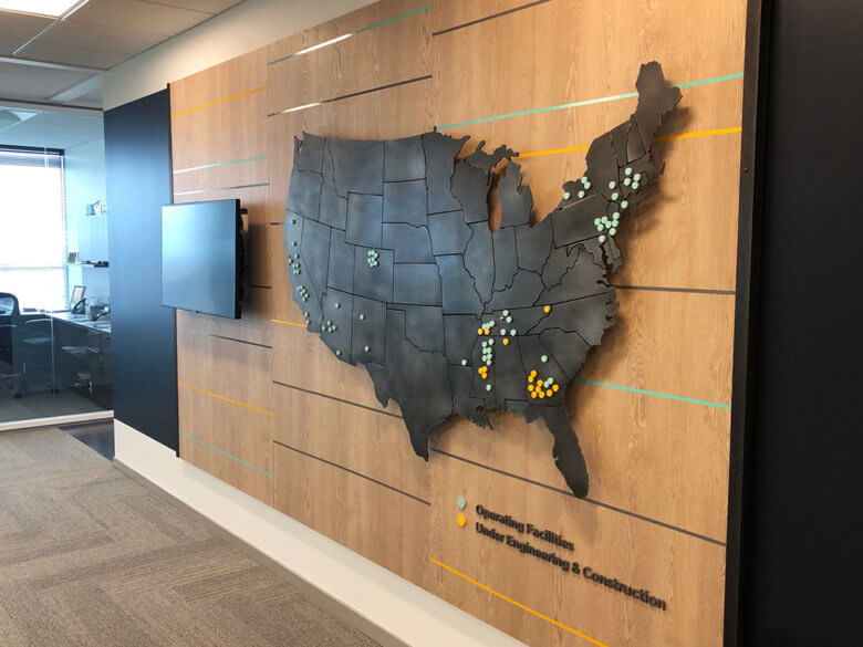 Map wall for Silicon Ranch in Nashville, TN.