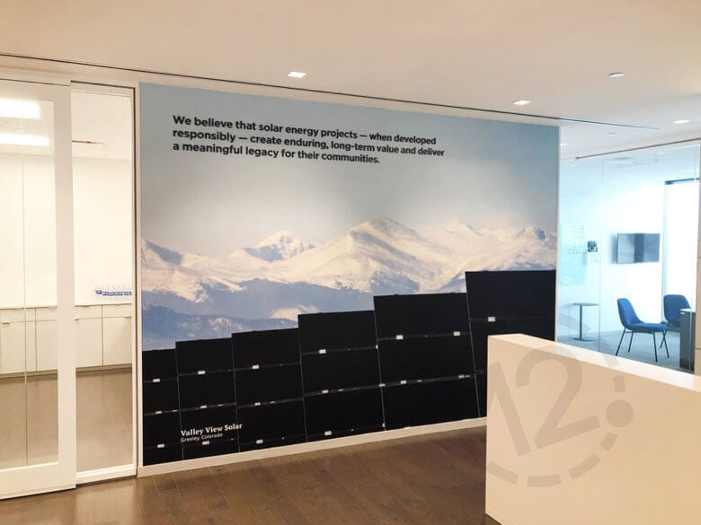 Wall mural with dimensional lettering for Silicon Ranch in Nashville, TN fabricated by 12-Point SignWorks.