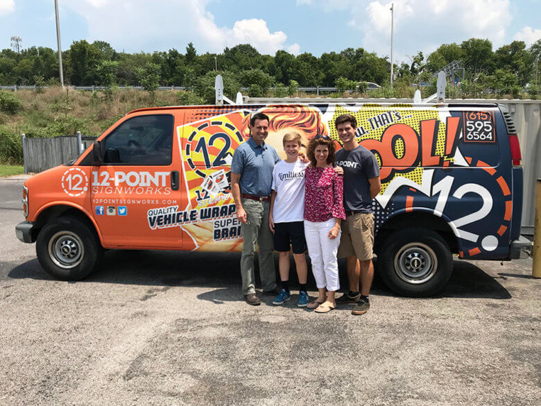 Johns family with the 12-Point SignWorks van.