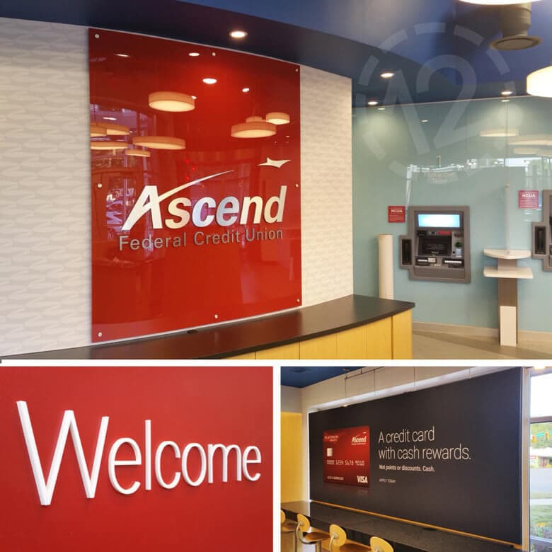 Facility branding for Ascend Federal Credit Union by 12-Point SignWorks in Franklin, TN.