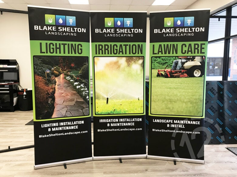 Retractable banners for Blake Shelton Landscaping by 12-Point SignWorks in Franklin, TN.