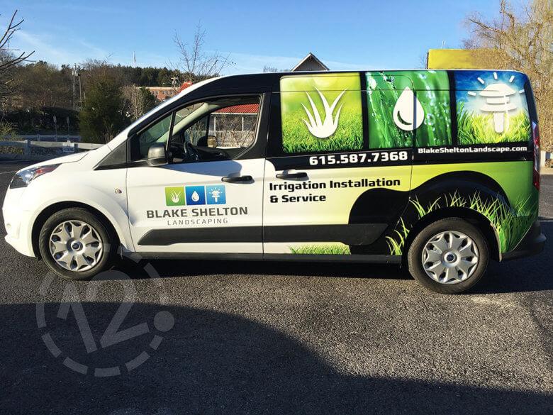 Custom van wrap for Blake Shelton Landscaping by 12-Point SignWorks in Franklin, TN.