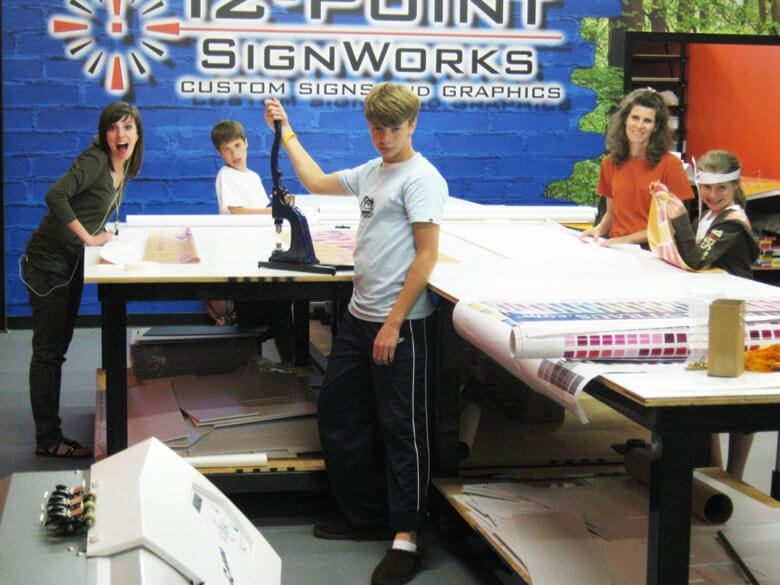 Family helpers back in 2009 at 12-Point SignWorks in Franklin, TN.