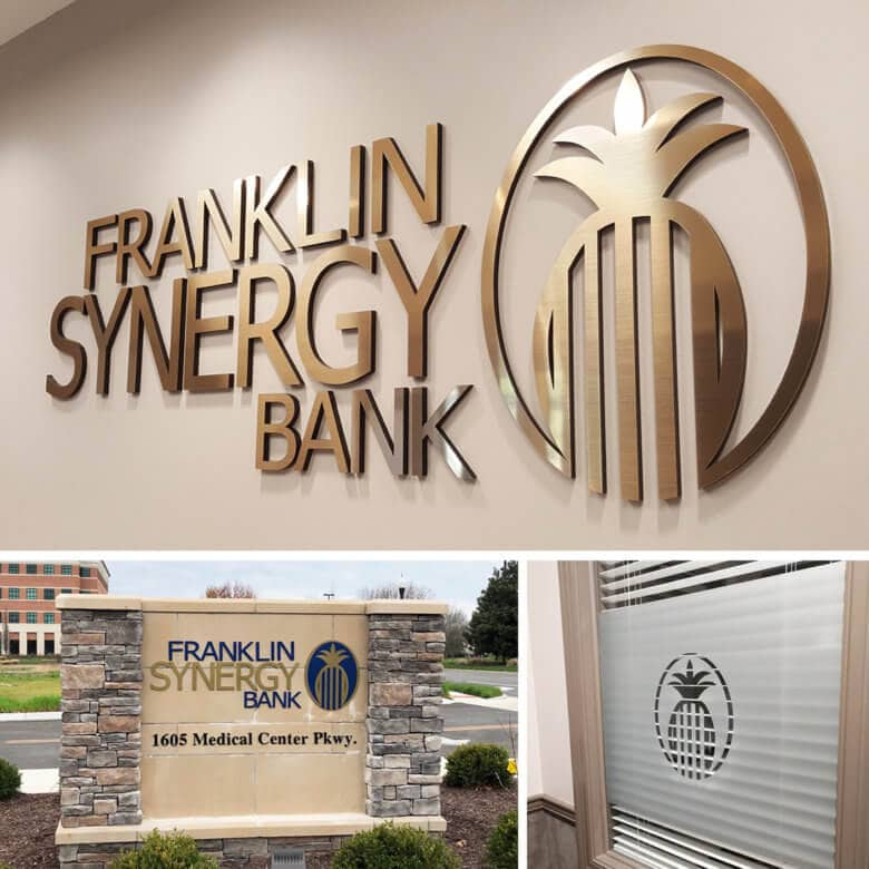 Facility branding for Franklin Synergy Bank by 12-Point SignWorks in Franklin, TN.
