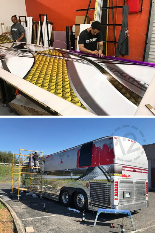 Preparation and installation of bus wrap for Glen Templeton by 12-Point SignWorks in Franklin, TN.