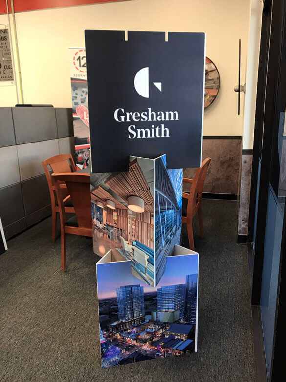 Custom display for Gresham Smith fabricated by 12-Point SignWorks in Franklin, TN.
