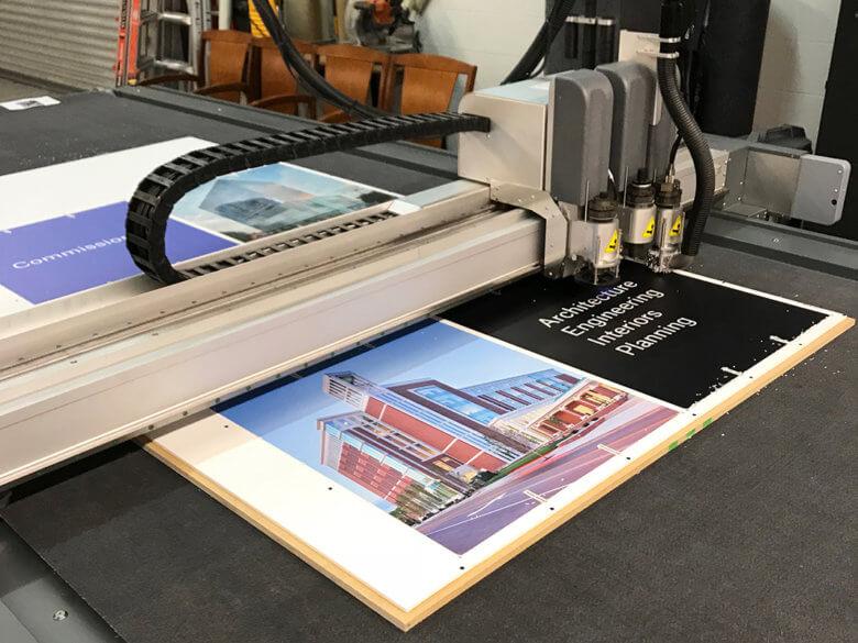Cutting custom display panels for Gresham Smith by 12-Point SignWorks in Franklin, TN.