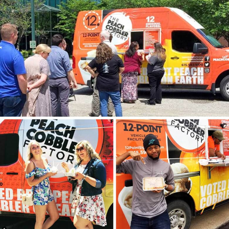 Food Truck Wrap for The Peach Cobbler Factory in Nashville by 12-Point SignWorks.