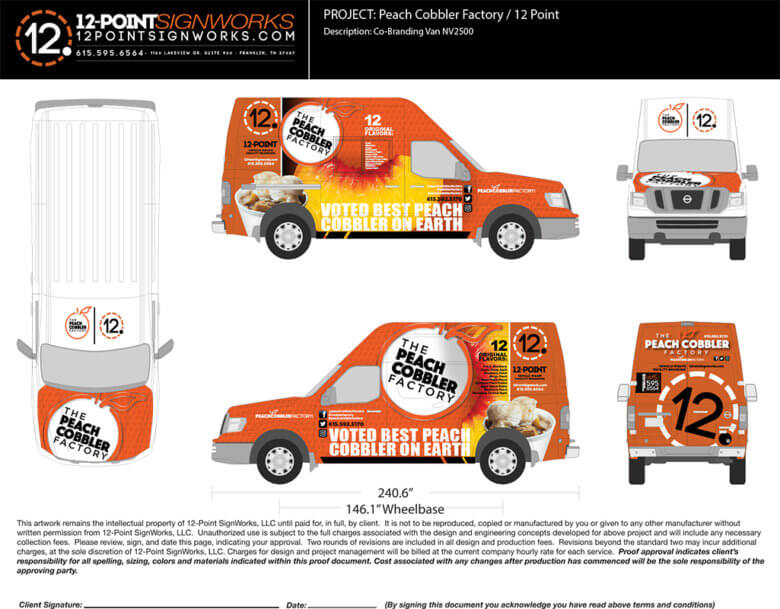 Proof of a Food Truck Wrap for The Peach Cobbler Factory in Nashville by 12-Point SignWorks.