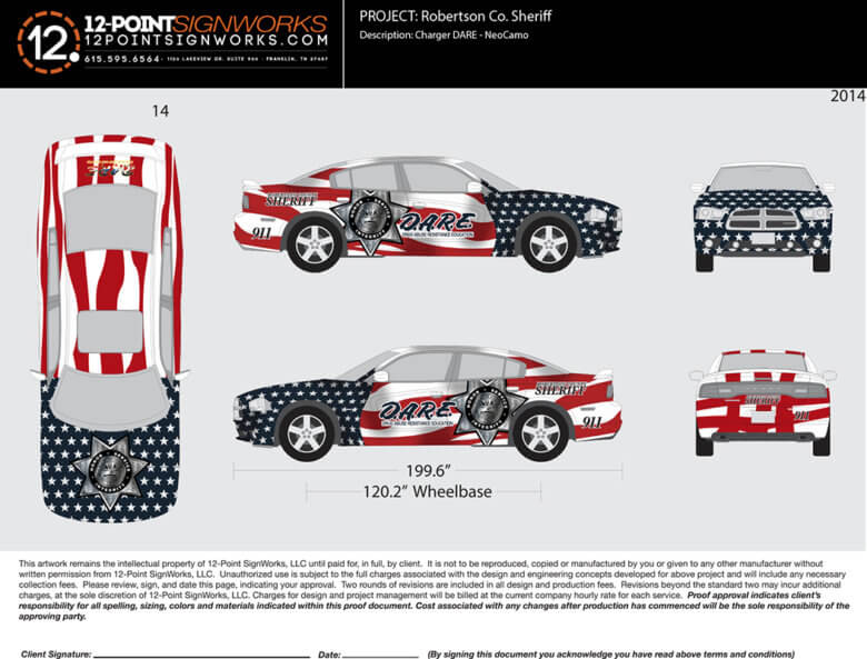 Proof of a custom car wrap for the Robertson County Sheriff's Office by 12-Point SignWorks in Franklin, TN.