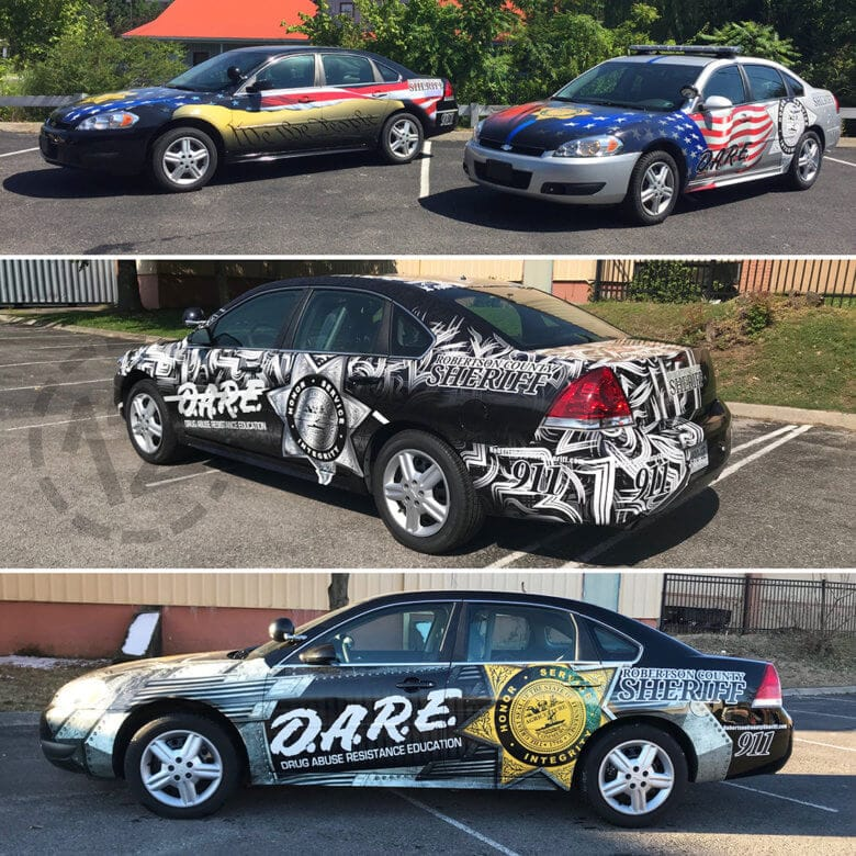 Custom D.A.R.E. vehicle wraps for the Robertson County Sheriff's Office by 12-Point SignWorks in Franklin, TN.