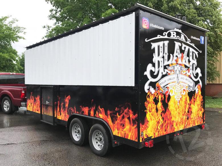 Custom food truck wrap for B.A. Blaze by 12-Point SignWorks in Franklin, TN.