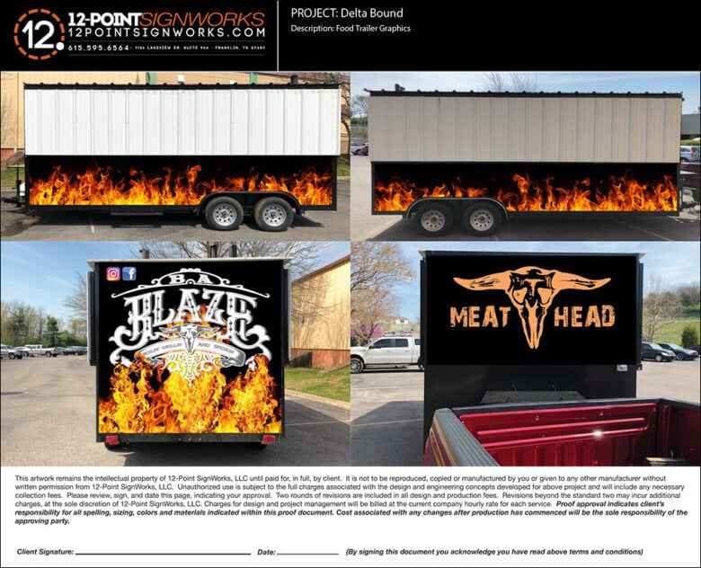 Design proof for B.A. Blaze food truck wrap by 12-Point SignWorks in Franklin, TN.