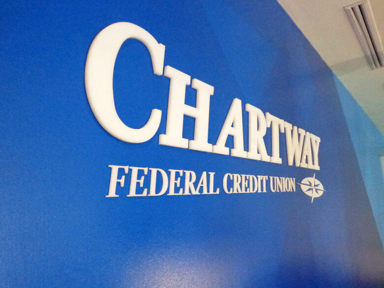Dimensional acrylic letters for Chartway Federal Credit Union by 12-Point SignWorks.
