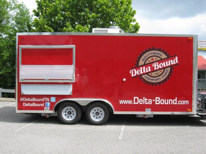 Delta Bound food trailer wrap by 12-Point SignWorks in Franklin, TN.
