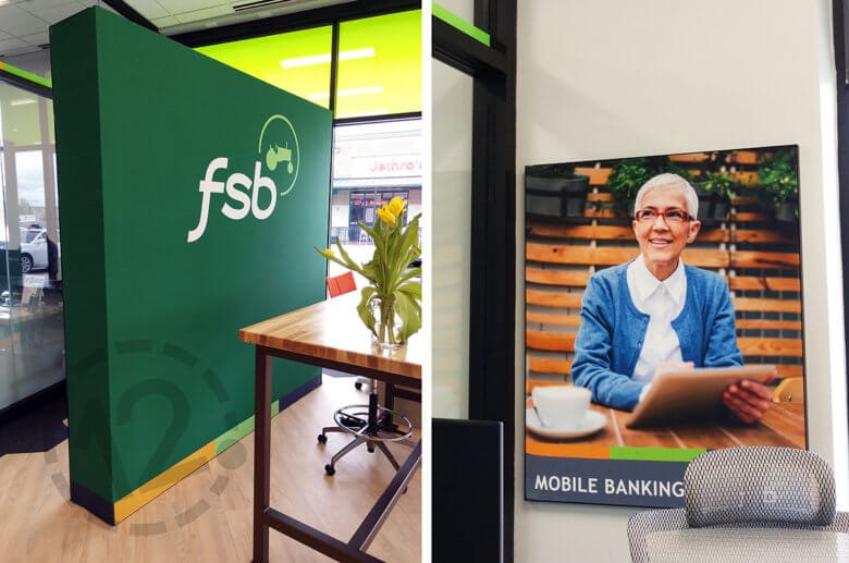 Silicone edge graphics for Farmers State Bank in Des Moines, IA installed by 12-Point SignWorks.