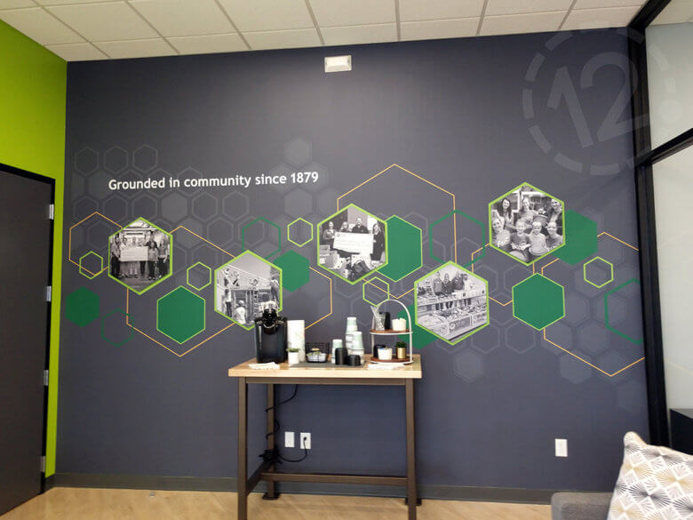 Custom vinyl wall mural for Farmers State Bank in Des Moines, IA fabricated and installed by 12-Point SignWorks.